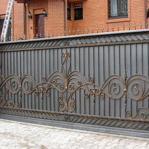 6 кованые откатные ворота
